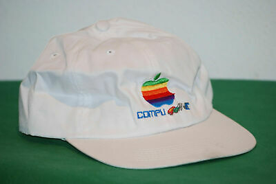 vintage Apple cap hat 5 panel compu Game anni 80 90 adjustable white