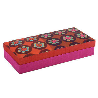 Indian Traditional Handmade Floral Red Silk Gaddi Decorative Box Home Décor A17
