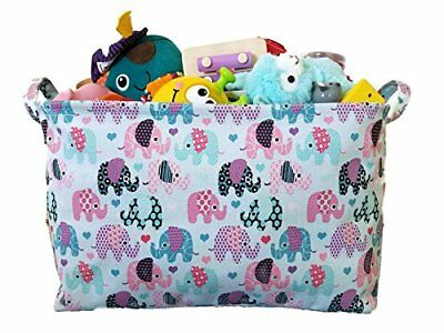 Canvas Toy Organizer Bins and Toy Storage with Elephant Designs for Kids Toy