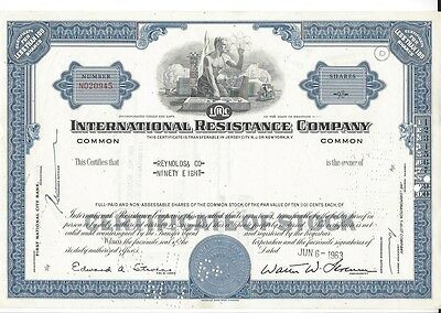 International Resistance Company.......1961 Stock Certificate