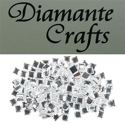 200 x 6mm Clear Square Diamante Loose Flat Back Rhinestone Vajazzle Body Gems