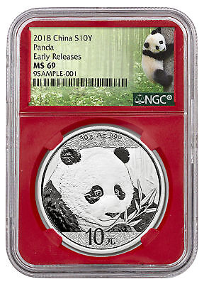 2018 China 30 g Silver Panda ¥10 NGC MS69 ER Red Core Exclusive PRESALE SKU50514