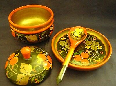 Vintage Russian Khokhloma Wooden Lacquered Bowl Lid Saucer Spoon 4 Pc Set