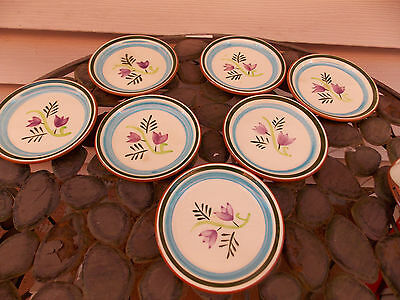"Stangl Art Pottery Hand Painted Country Garden Coaster Plates 4 3/4 "" S/7"