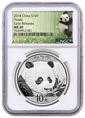 2018 China 30 g Silver Panda ¥10 Coin NGC MS69 ER Panda Label SKU50516