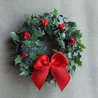 Dolls house miniatures: Christmas wreath with holly berries and red bow