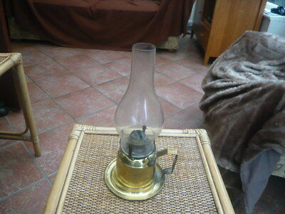 Genuine Vintage Old Antique Old Brass Oil Lamp Hand Carry Or Wall Mount