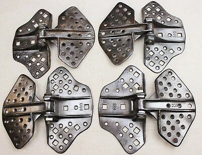 """Antique Set of 4 Cast Iron Barn Door Butterfly Hinges 8-3/4"""" L x 7-3/4""""W"""