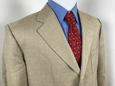 EUC Brooks Brothers Beige Houndstooth Linen Silk Blend 3 Button Sport Coat 45R