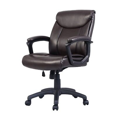 Ergonomic Leather Mid Back Executive Racing Office Chair Recliner Computer Brown
