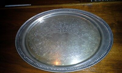 vintage silver plated oval etched engraved serving tray platter usa