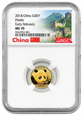 2018 China 3 g Gold Panda ¥50 NGC MS70 ER Excl Great Wall Label PRESALE SKU51163