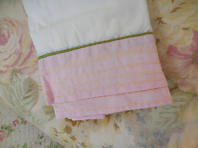 Pottery Barn Kids Spring Flowers Pink Stitched Bed Skirt Crib Shabby cottage