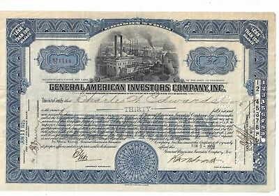 General American Investors Company Inc....1928 Common Stock Certificate