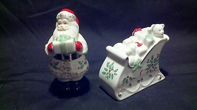 "Lenox ""santa And Sleigh Salt & Pepper Shakers"""