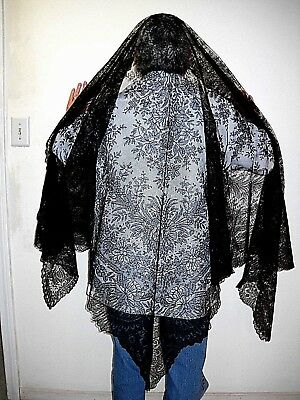 19th century ORIGINAL antique black lace Mourning shawl LARGE from New England
