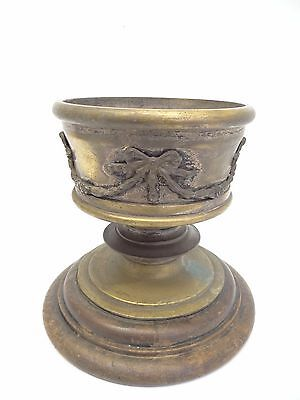 Antique Metal Silverplate on Brass Wood Base Asian Chinese Planter Plant Holder