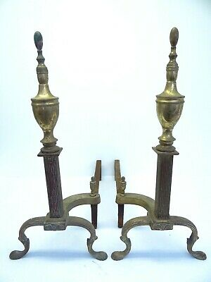 Antique Pair Metal Iron Brass Decorative Claw Foot Fireplace Andiron Log Holders