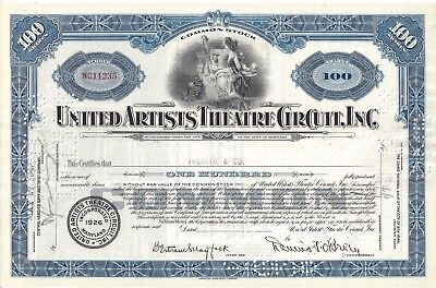 United Artists Theatre Circuit Inc......1940's Common Stock Certificate