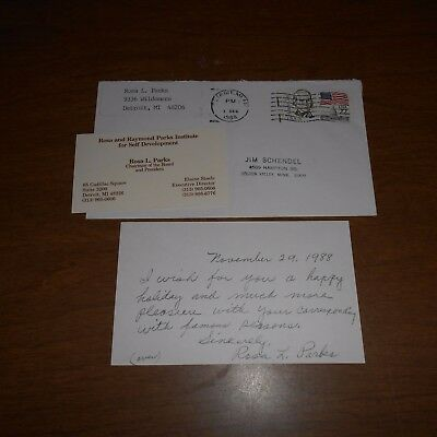 """Rosa Parks  """"1st lady of civil rights""""  Hand Written & Signed Note w/Envelope"""