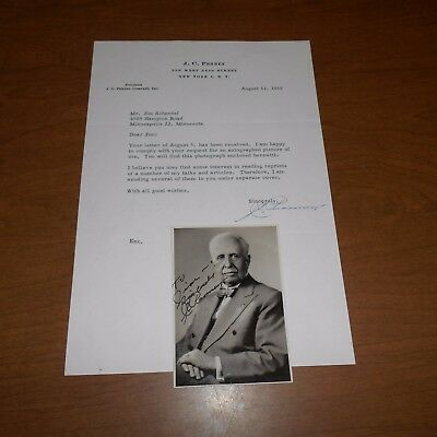 James Cash Penny  founder of JC Penny  Hand Signed Letter & Photo