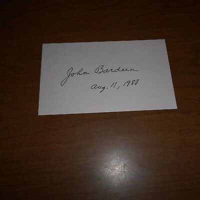 John Bardeen  physicist/engineer  Hand Signed Card    invention of transistor