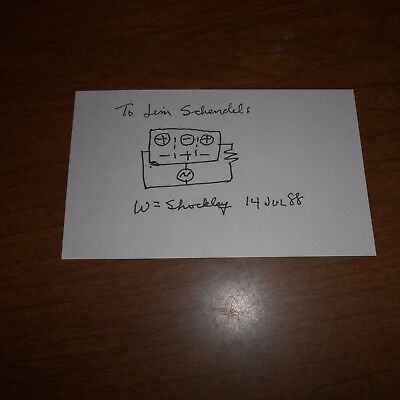William Shockley  physicist & inventor  Hand Signed Card    w/Sketch