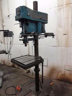 """20"""" Clausing 2224 Drill Press w/Pneumatic Downfeed 1.5HP 3MT Belted CLEAN TABLE"""