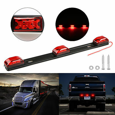 """14"""" Red Clearance ID BAR Marker Light 3 Light 9 LED Trailer Stainless Steel New"""