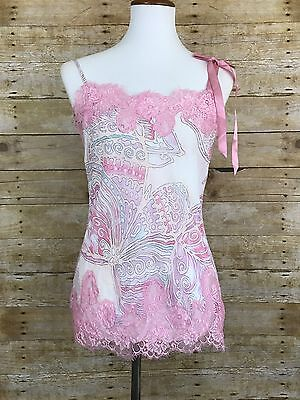 Victoria's Secret Women's Pink Floral Lace Lingerie Cami Size Medium