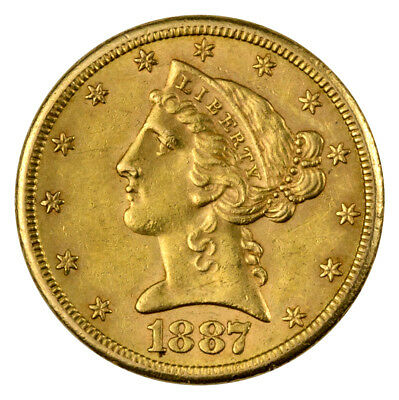1866-1908 Liberty Head (With Motto) $5 Gold Half Eagle AU SKU41508