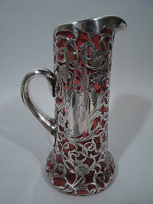 Art Nouveau Claret Jug - Antique - American Ruby Red Glass & Silver Overlay