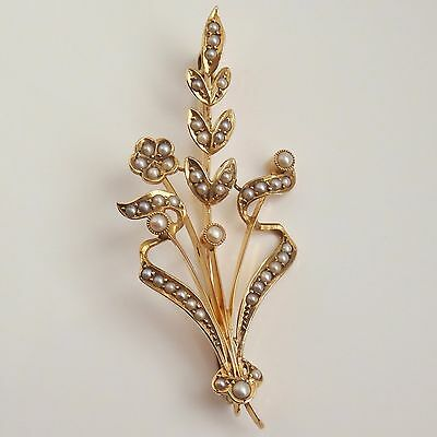 Stunning Antique Victorian 15ct Gold Seed Pearl set Floral Spray Brooch c1900