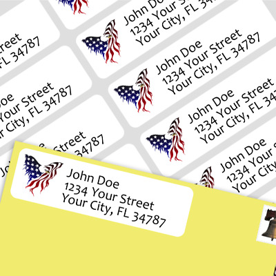 800 Personalized Return Self-adhesive Address Labels -Eagle USA Flag