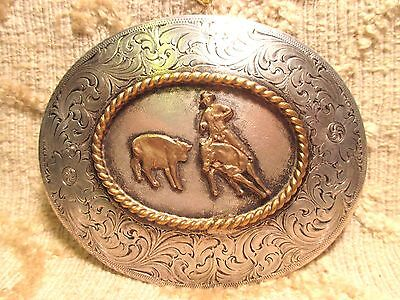 WAGE SOLID STERLING SILVER Front TROPHY Cutting Horse BELT BUCKLE