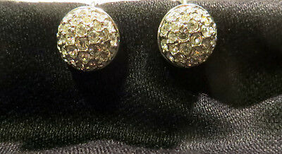 Swarovski Signed On Pave Crystal Clip Earrings