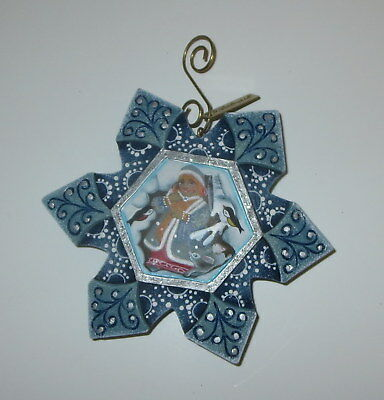 Snowmaiden Snowflake Ornament G DeBrekht Blue Hand Carved Birds Bunny Rabbit