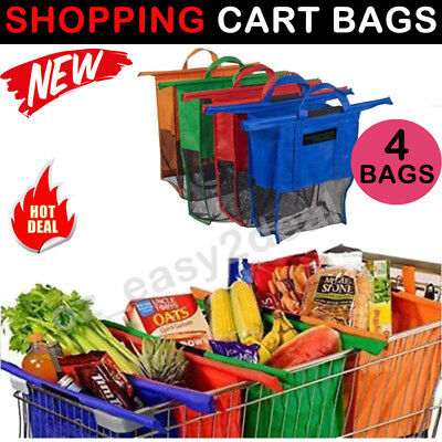 Set of 4 NEW Reusable Shopping Trolley Bags Eco-Friendly Grocery Cart Carrier