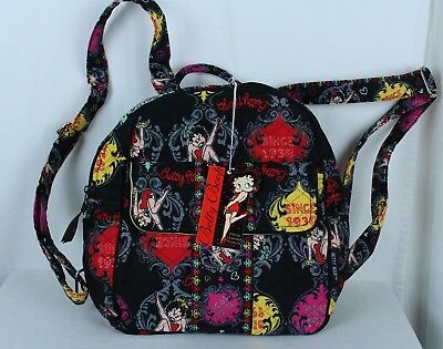 Betty Boop Quilted Backpack Bag Purse Black Red Zips Pockets Adjustable Straps