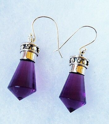 20CT Amethyst Genuine crystal 925 Solid Sterling Silver Earrings Jewelry 1 2/3""