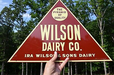 VINTAGE 40's WILSON DAIRY FARMS PYRAMID OF QUALITY MILK ICE CREAM DAIRY SIGN
