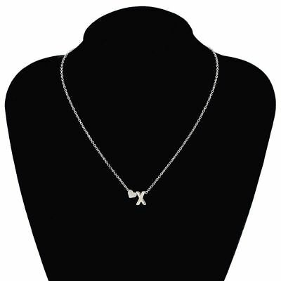 Silver Tiny Love Heart Collier Choker Necklace Pendant Lovers Gifts 26 Letters