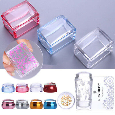 Clear Handle Nail Stamper Silicone Jelly Head with Scraper Nail Art Decor Tools