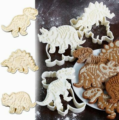1/3PCS Plastic Dinosaur Cookie Cutter Mold  Biscuit Pastry Cake Baking Mould