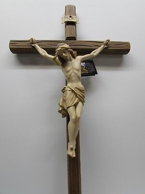 "21"" Wooden Crucifix - Stained Cross (Dark) with Carved Wood Corpus - Stained"