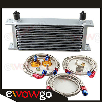 16-Row Aluminum Engine Oil Cooler+Relocation Kit+S S Double Braided Lines