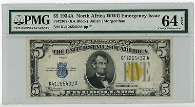 1934 A $5 North Africa Emergency Note PMG 64 EPQ FR #2307