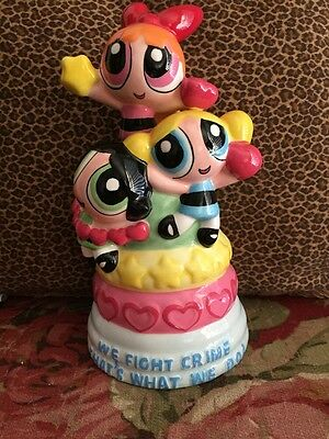 """Power Puff Girls Bank Never Used """"We Fight Crime That's What We Do"""" 9.5 in tall"""
