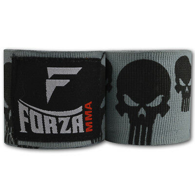 """Forza MMA 180"""" Mexican Style Boxing Handwraps - Skulls Gray"""