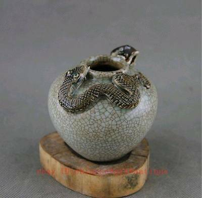 old chinese fengshui porcelain glaze mouse snake Tanks Crock pot jar QT1